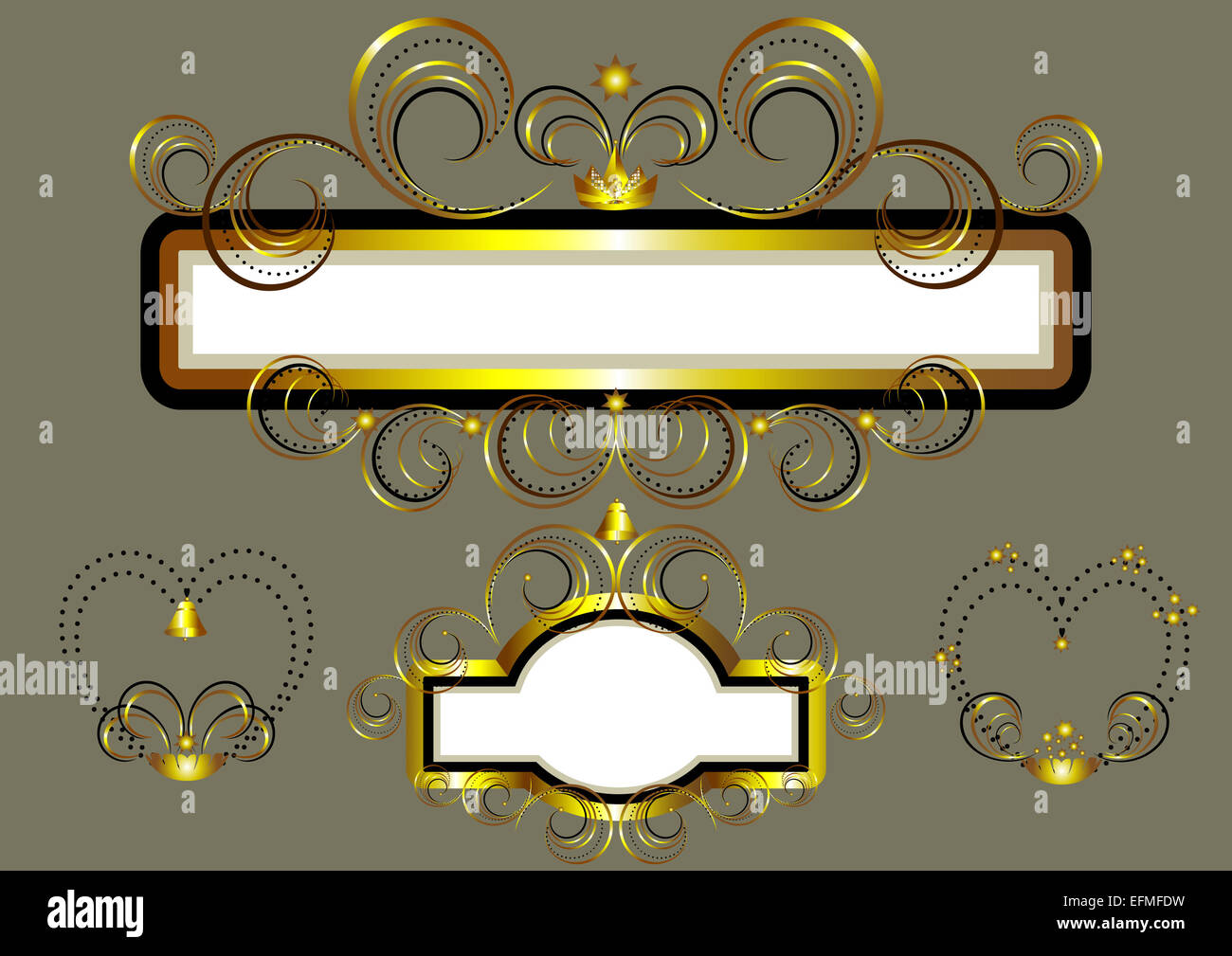 Frames with gold stars and swirls. - Stock Image