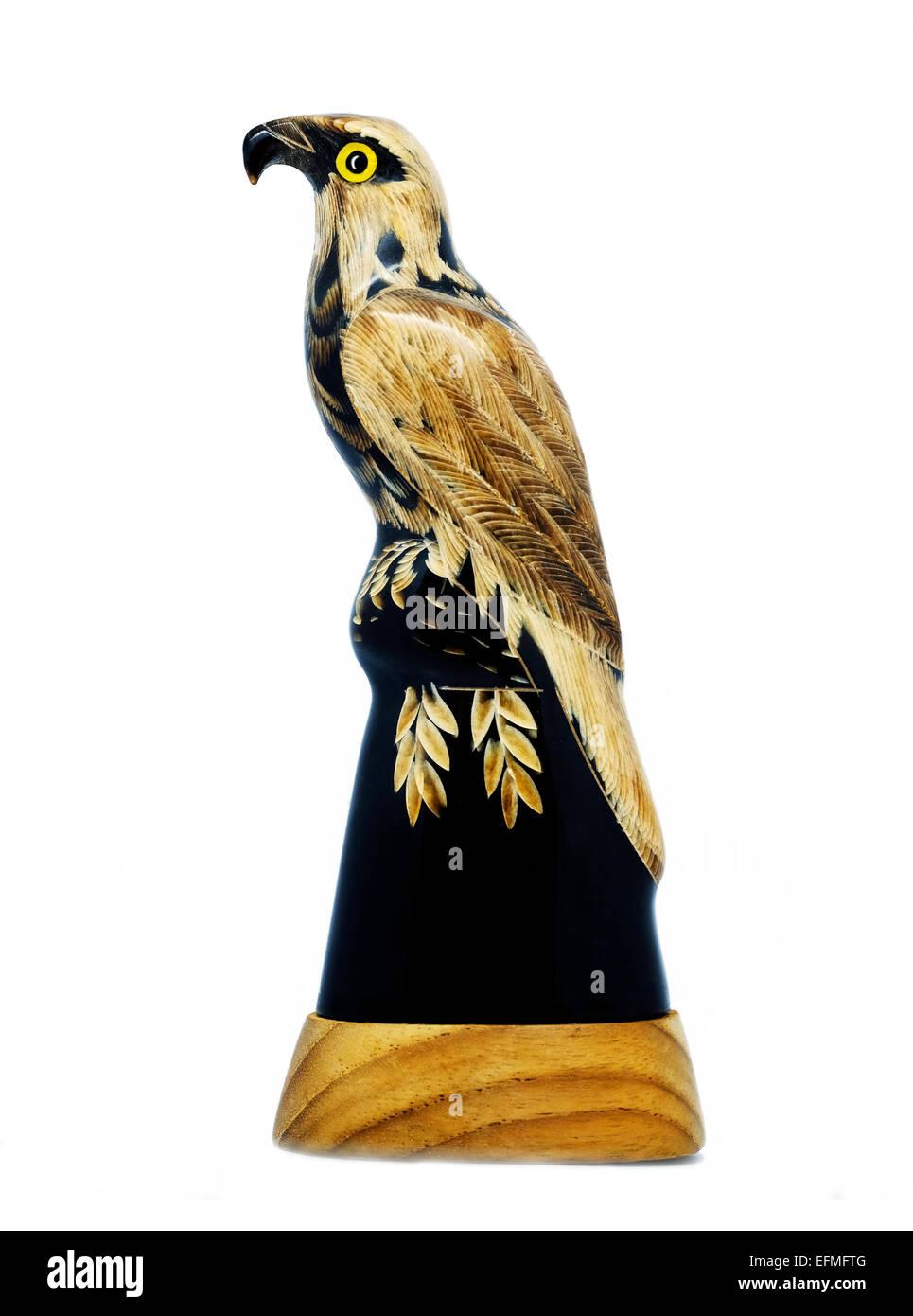 Eagle figurine handmade American horn native Bald Eagle symbol - Stock Image