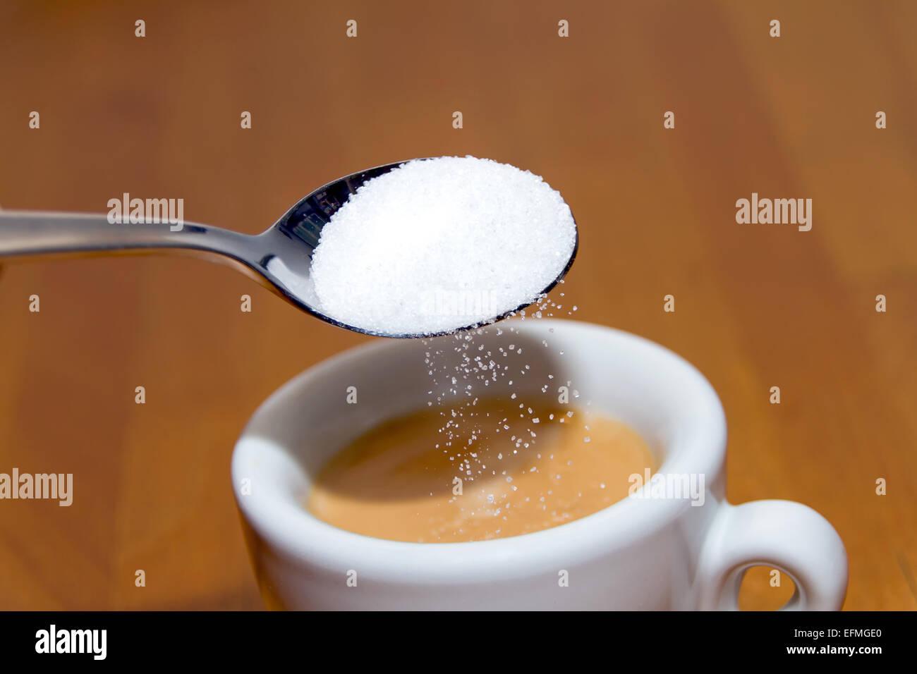 Espresso and sugar - Stock Image
