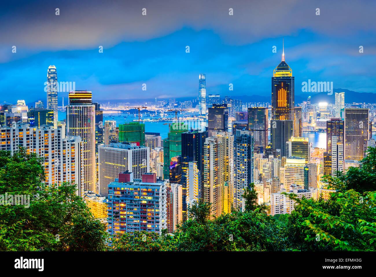 Hong Kong, China cityscape at twilight. Stock Photo