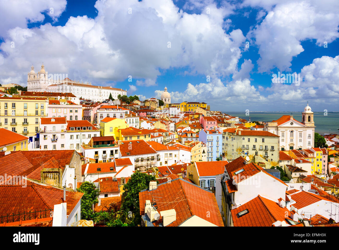Lisbon, Portugal old town skyline in the Alfama district. Stock Photo