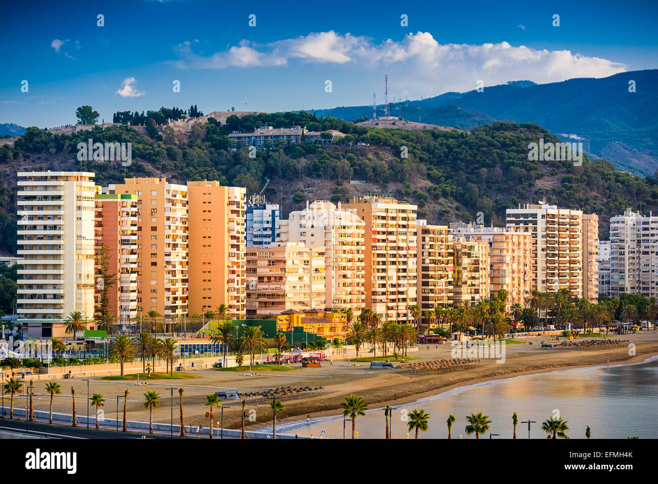 Malaga, Spain at Malagueta Beach along Costa del Sol. - Stock Image