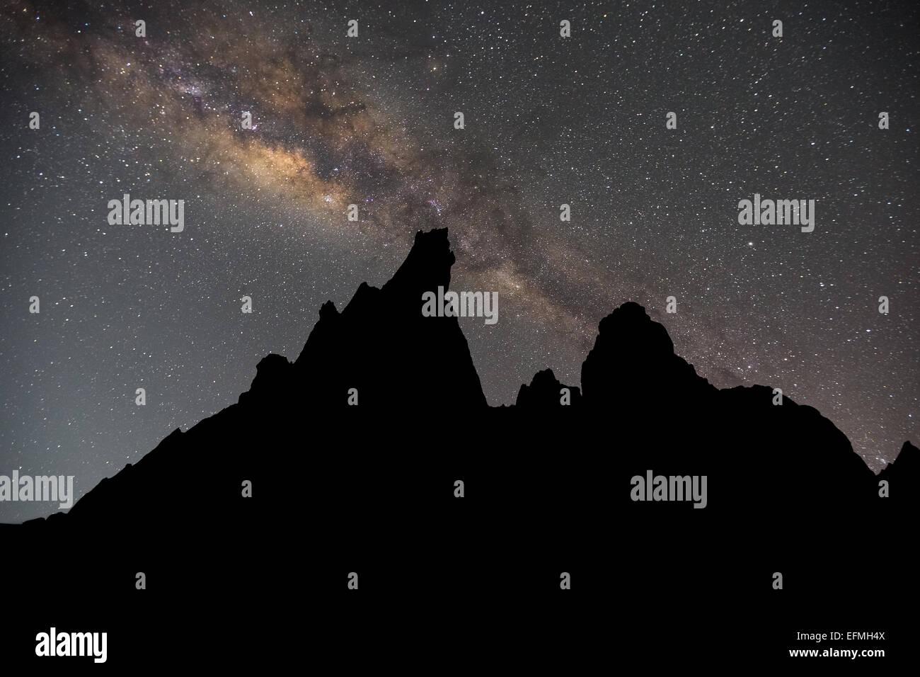 Milky Way at Hatun Machay, Cordillera Negra, Andes, Peru, South America Stock Photo