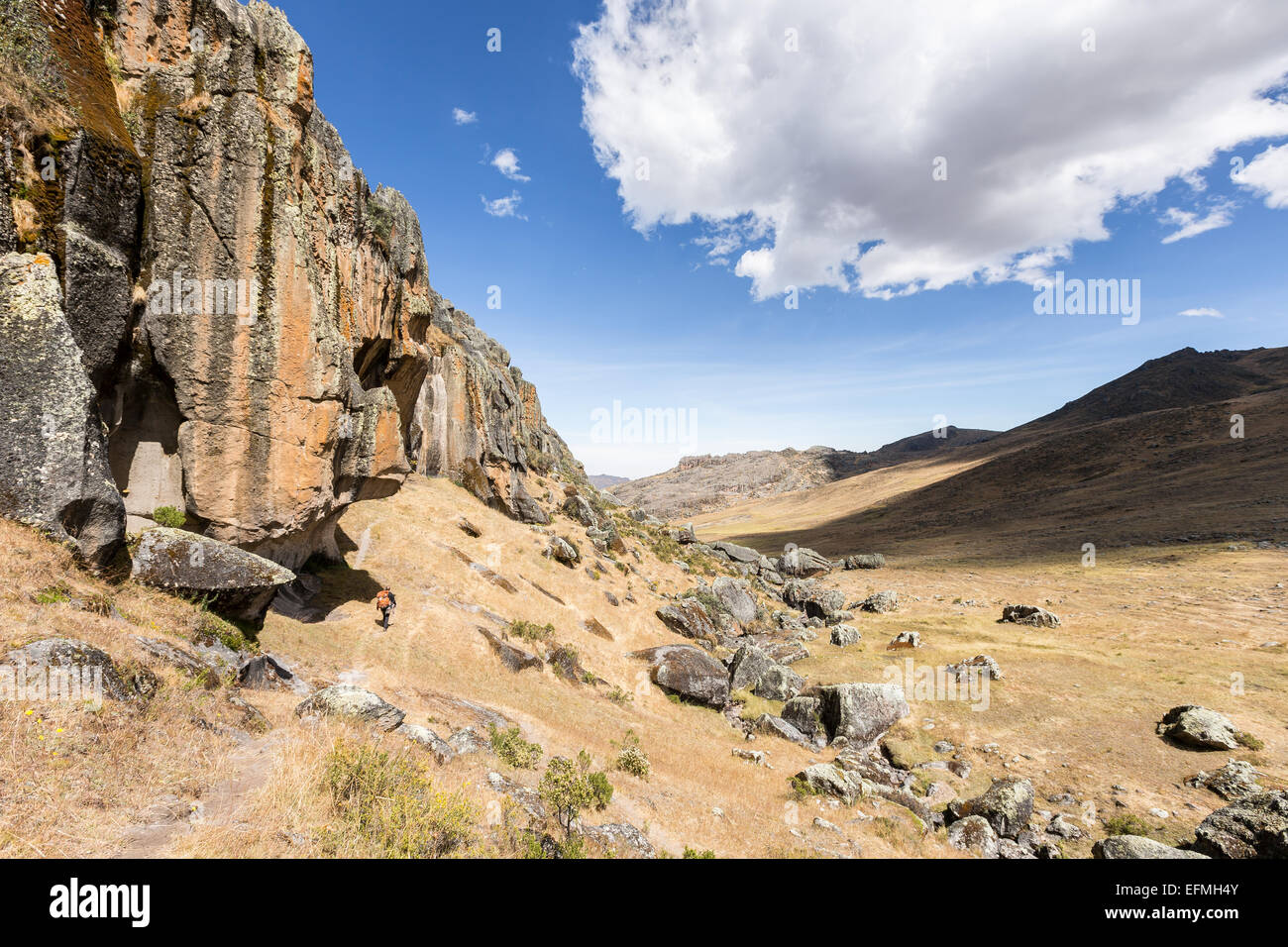 Rock climbing place at Hatun Machay, Cordillera Negra, Andes, Peru, South America Stock Photo