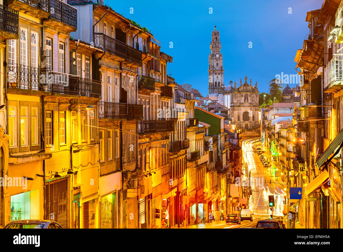 Porto, Portugal cityscape towards Clerigos Church. - Stock Image