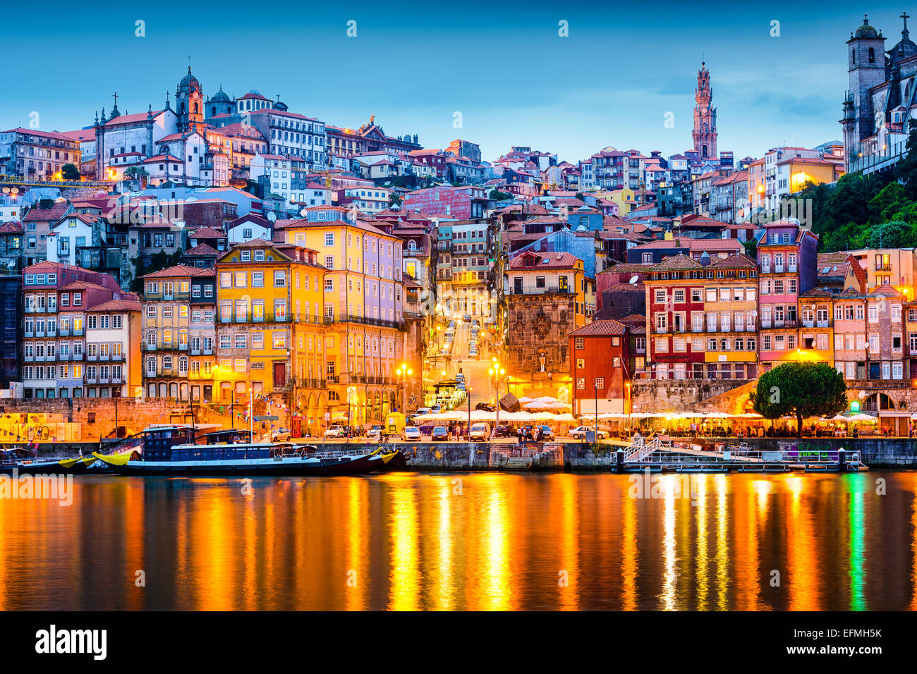 Porto, Portugal  old city skyline from across the Douro River. - Stock Image
