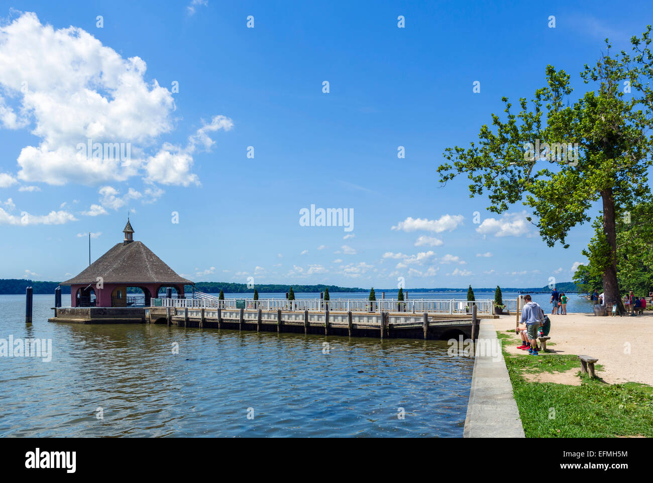 The Wharf on the riverfront at President George Washington's plantation mansion at Mount Vernon, Fairfax County, - Stock Image