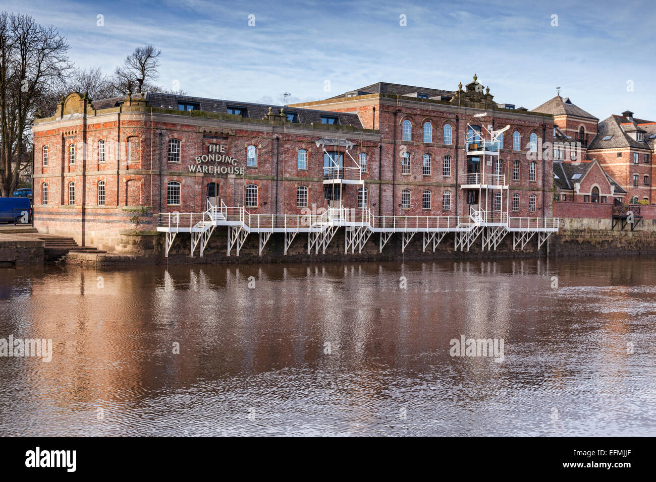 The Bonding Warehouse, traditional architecture on the banks of the River Ouse at York, North Yorkshire, England, - Stock Image