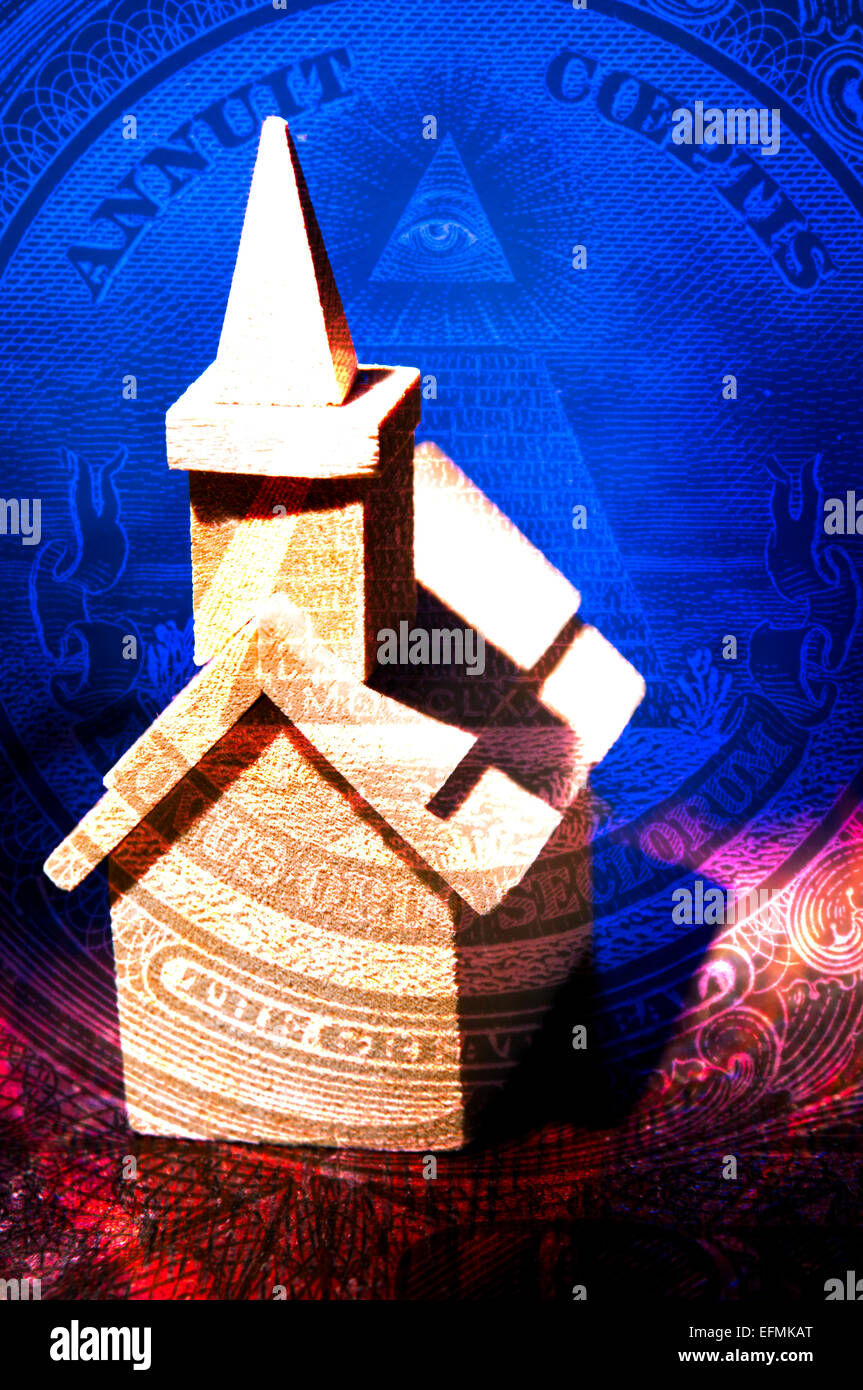 Model of a Christian Church of background of the Great Seal of the United States on the reverse side of the US dollar - Stock Image