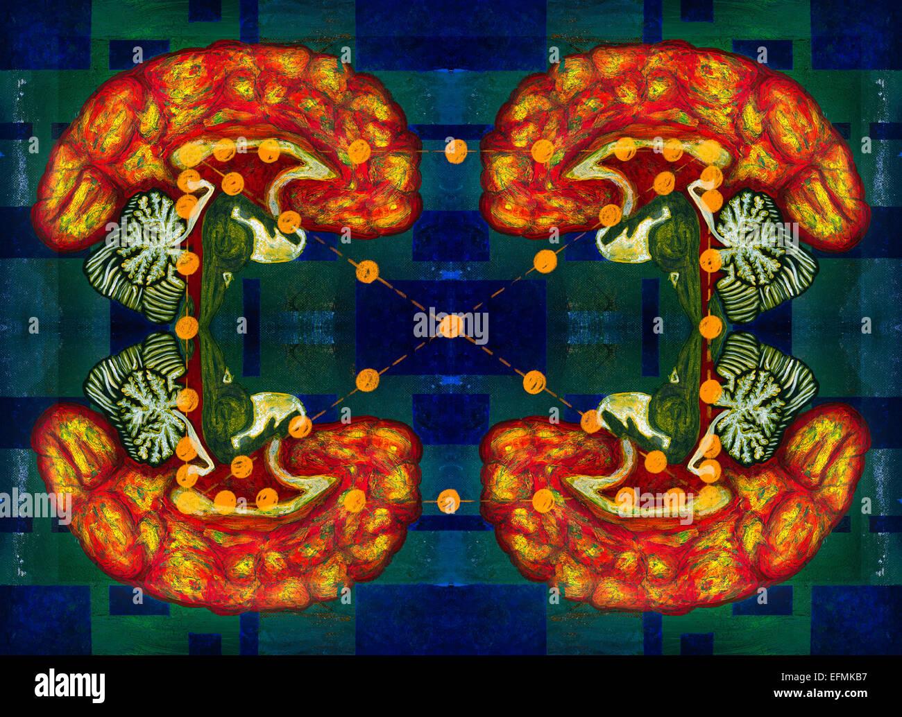 Illustration of multiple brains communicating - Stock Image
