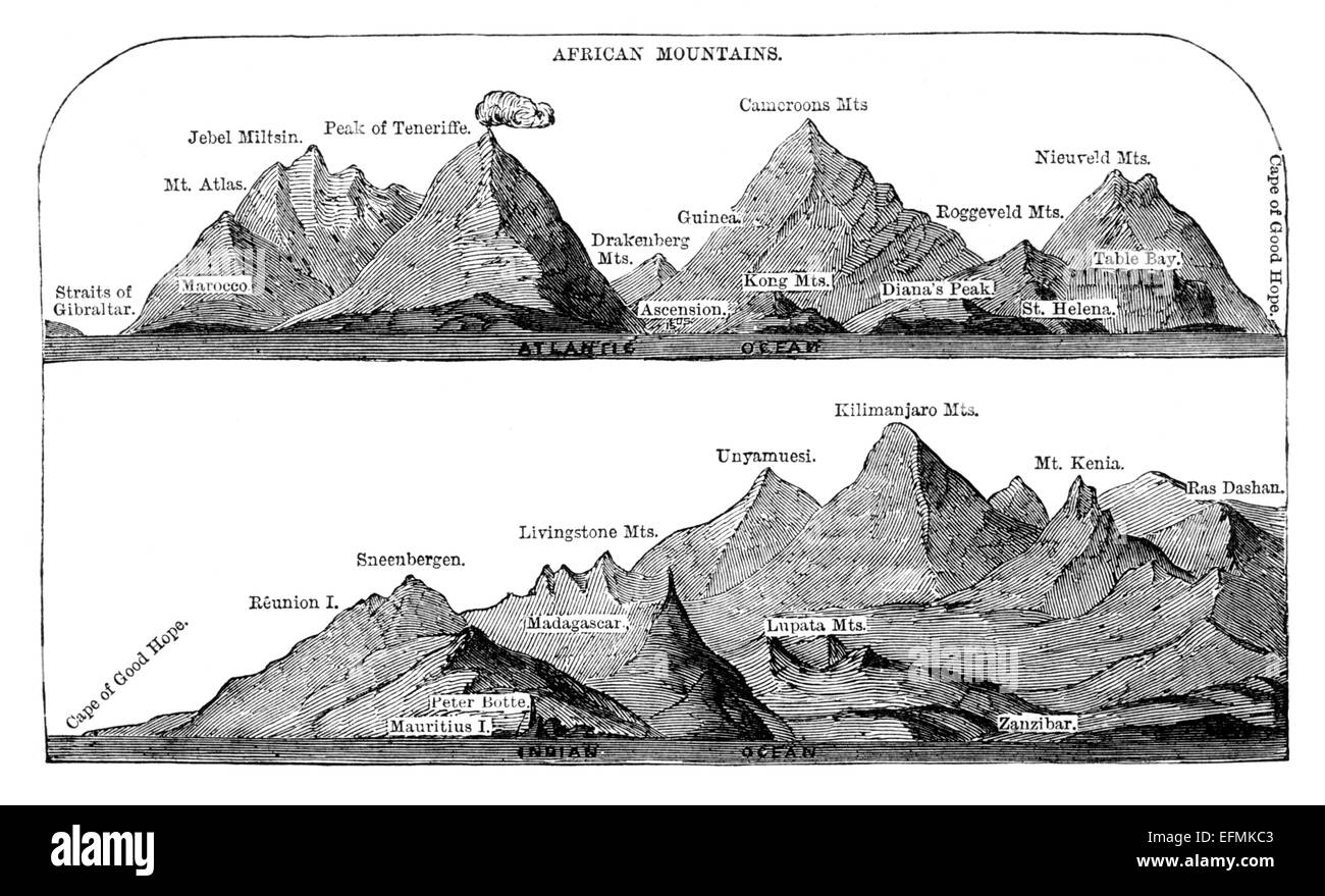 Victorian engraving of a diagram of africas highest mountains stock victorian engraving of a diagram of africas highest mountains publicscrutiny Image collections