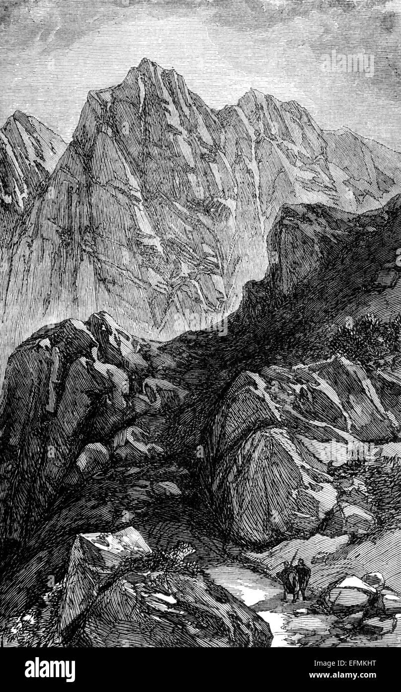 Victorian engraving of Mount Sinai, Egypt - Stock Image