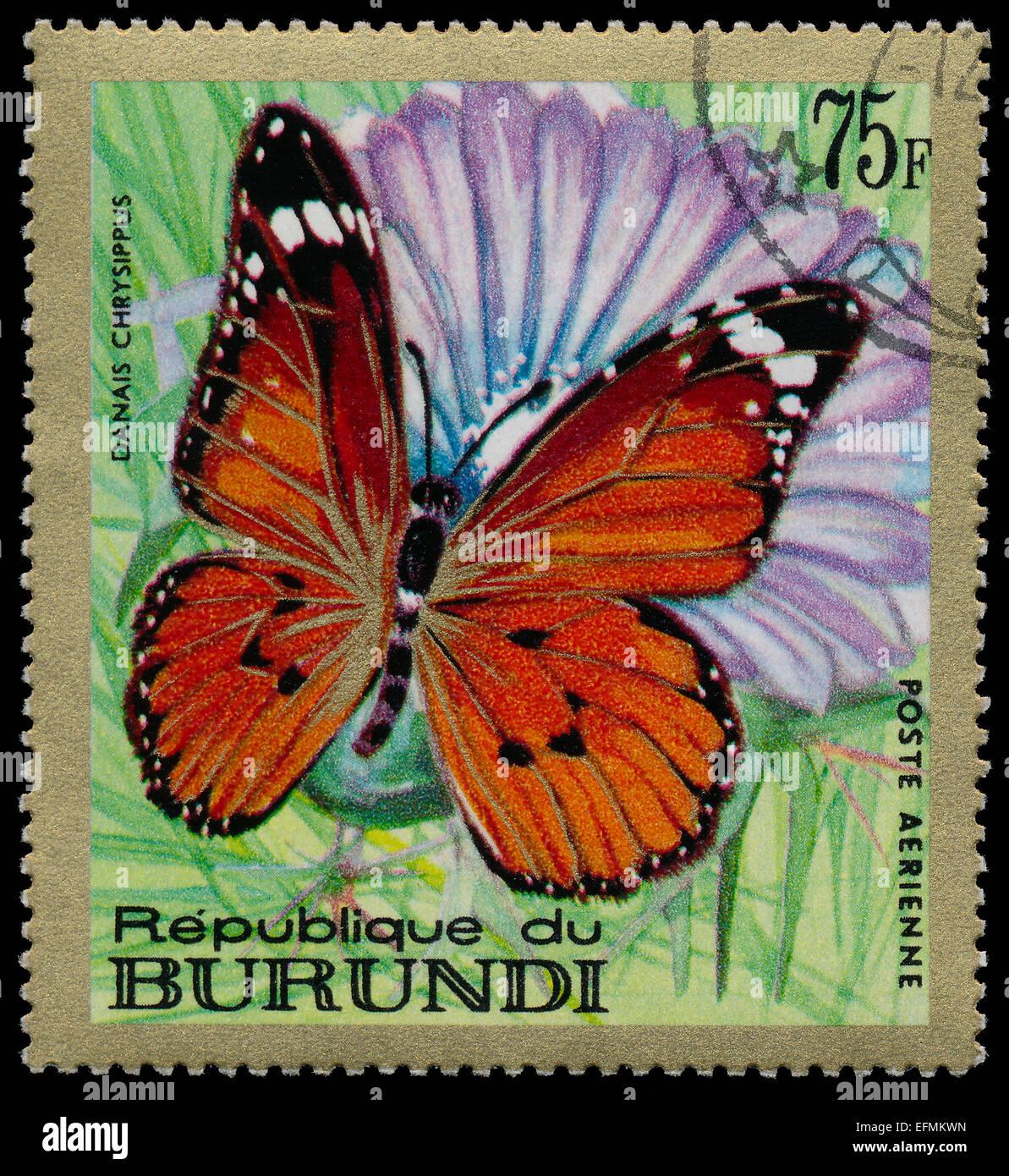REPUBLIC OF BURUNDI - CIRCA 1968: A stamp printed in Burundi shows a butterfly Danais chrysippus , circa 1968 Stock Photo