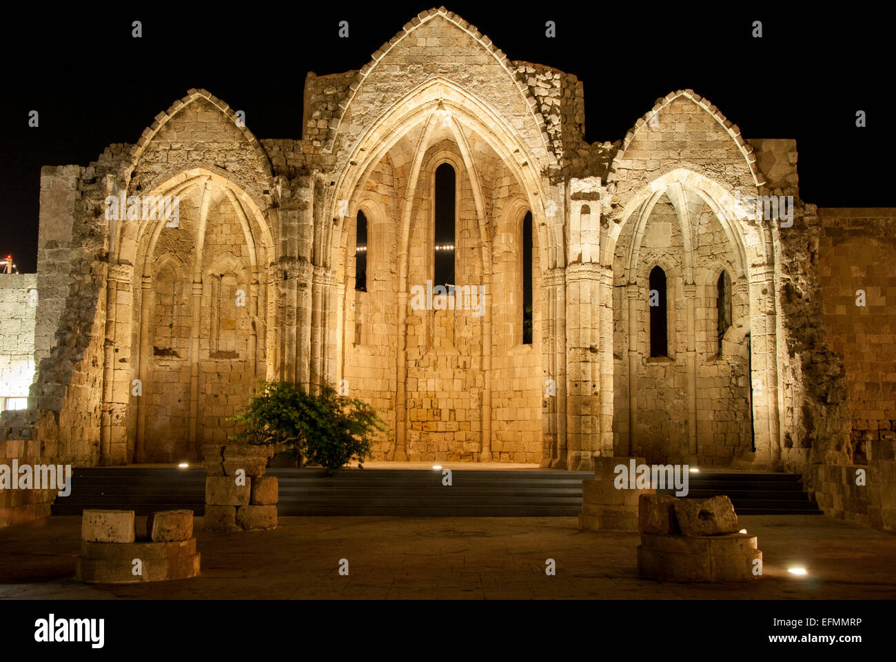 Rhodes' Night at the Old Cathedral - Stock Image
