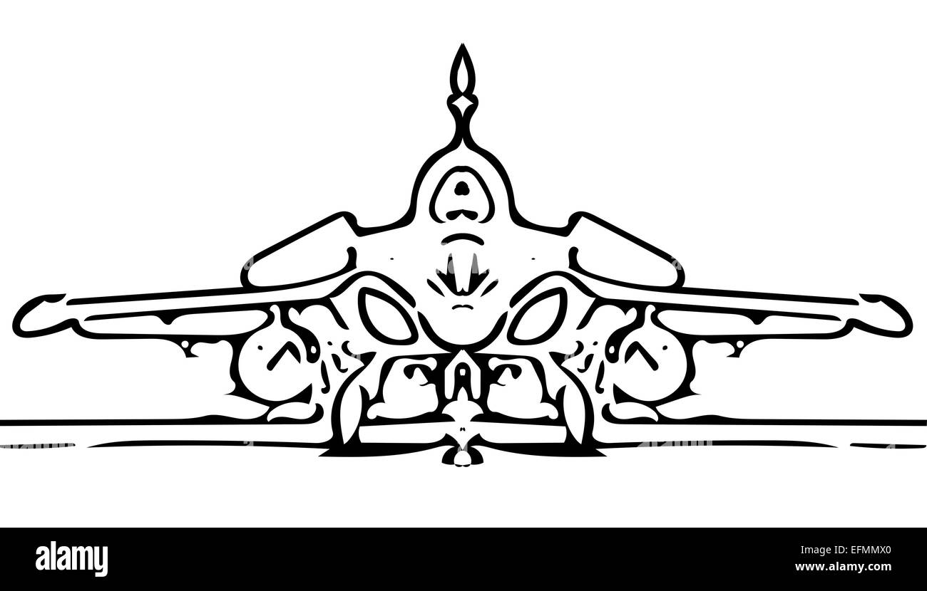 military fighter jet plane at taxi sketch illustrator on white - Stock Image
