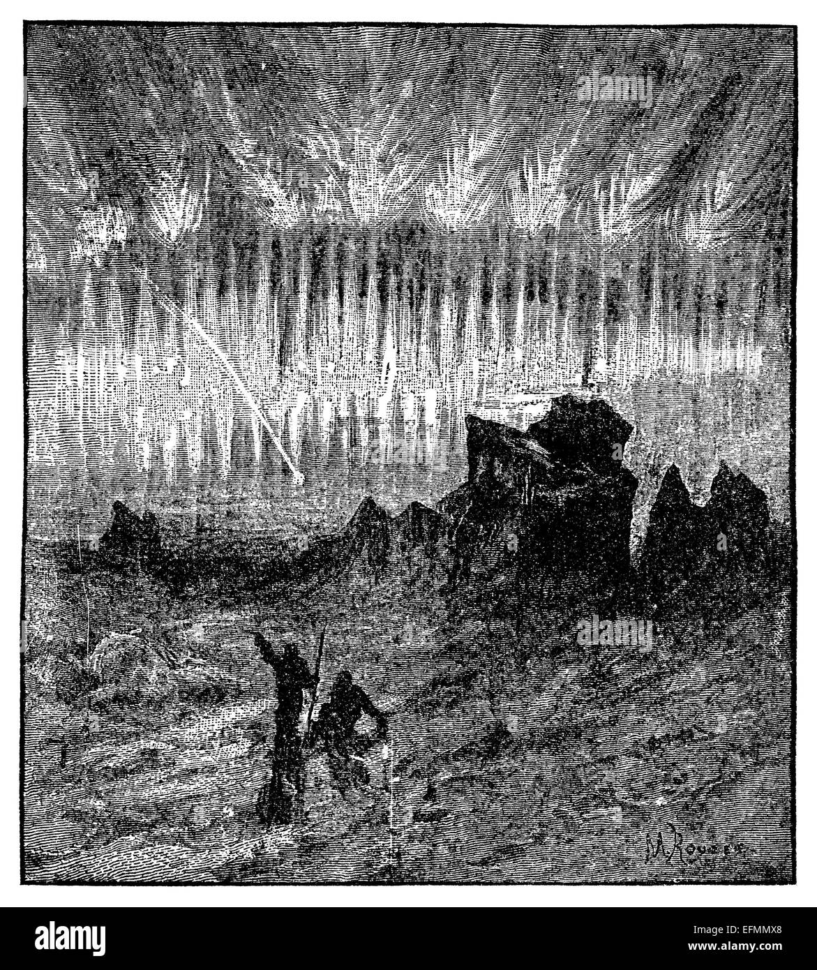 19th century engraving of the Aurora Borealis at night - Stock Image