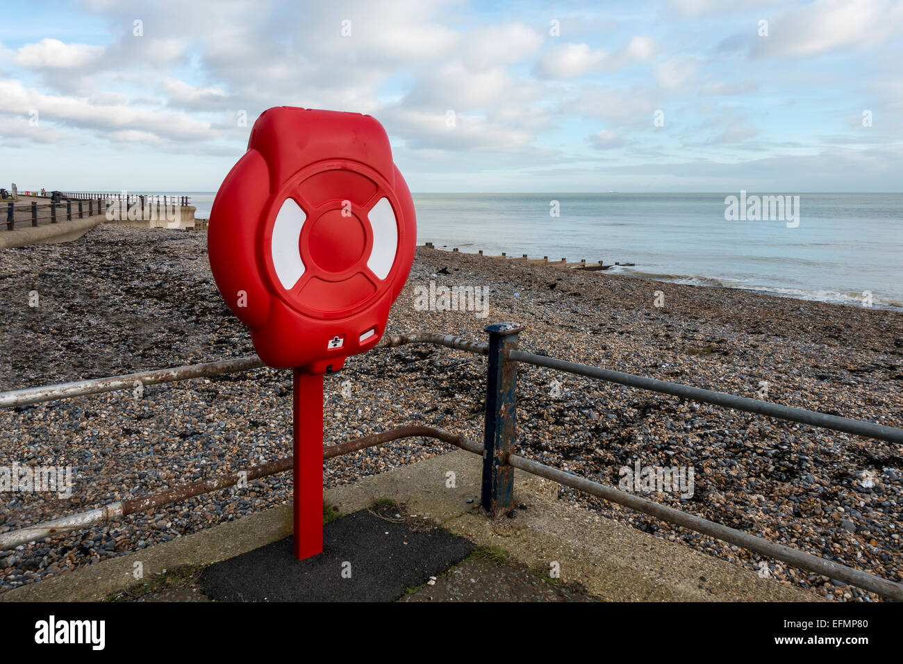 Marine Lifebelt Station Beach - Stock Image