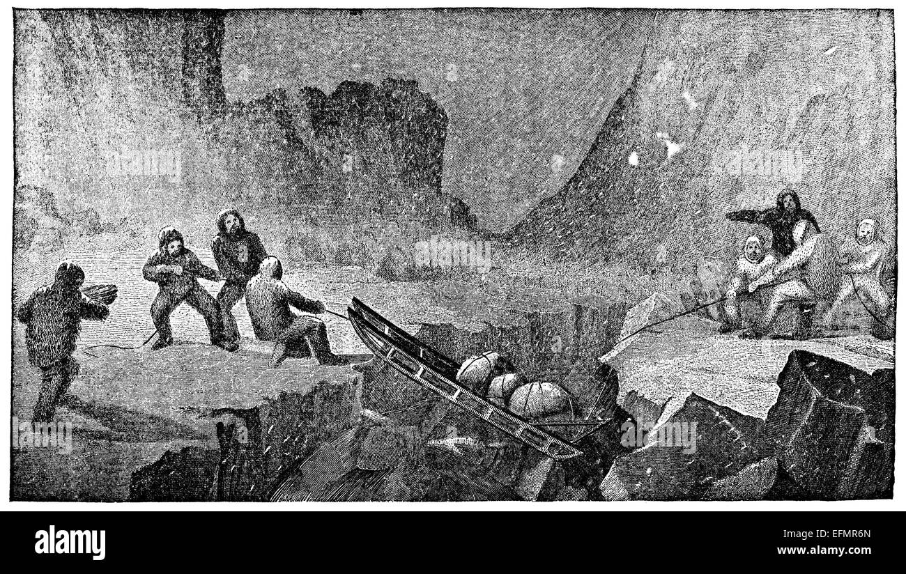 19th century engraving of explorers pulling a sled across an ice crevasse - Stock Image