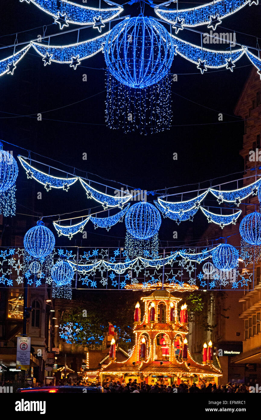 birmingham christmas lights 2015 street scene and german market on new street & birmingham christmas lights 2015 street scene and german market on ...