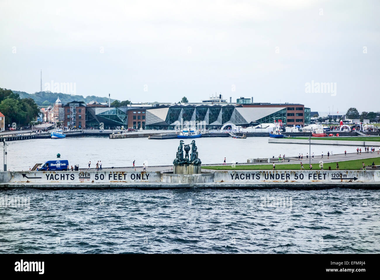 Entrance to Elsinore Harbour in Denmark with the Culture Yard with library in the background - Stock Image