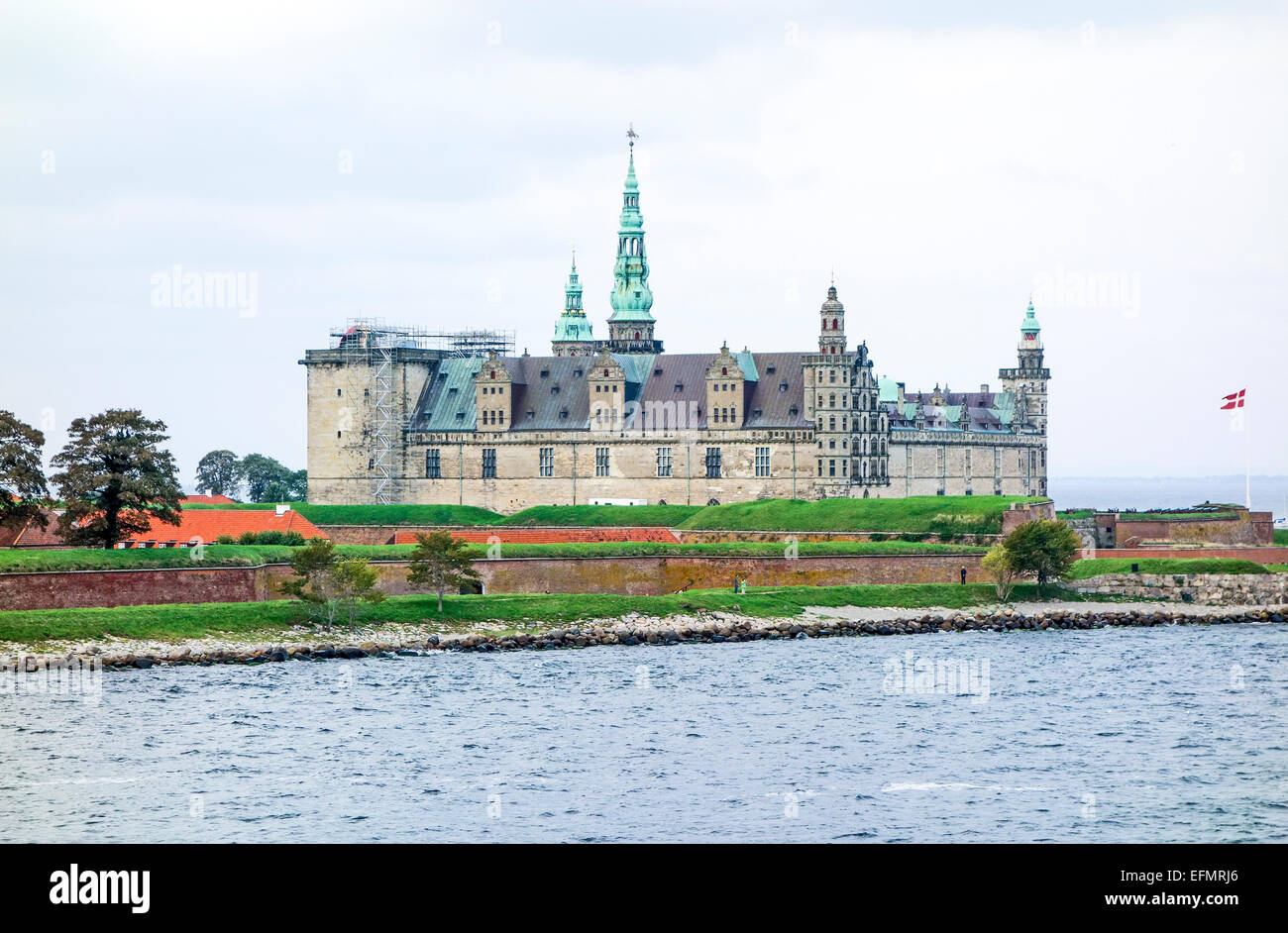 Kronborg Slot Elsinore Denmark from Oeresund - Stock Image