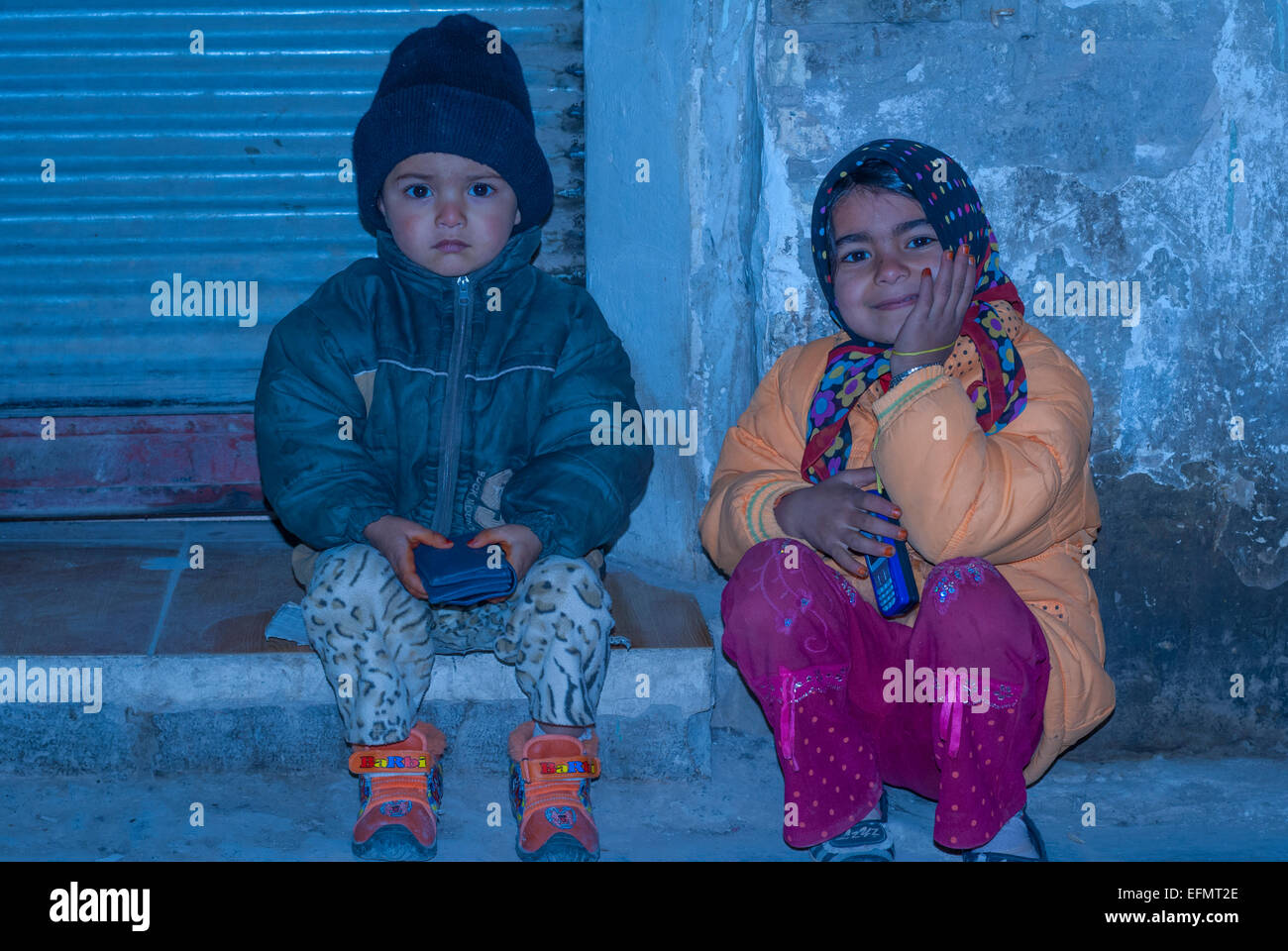 Afghan refugee kids, Kerman, Iran - Stock Image