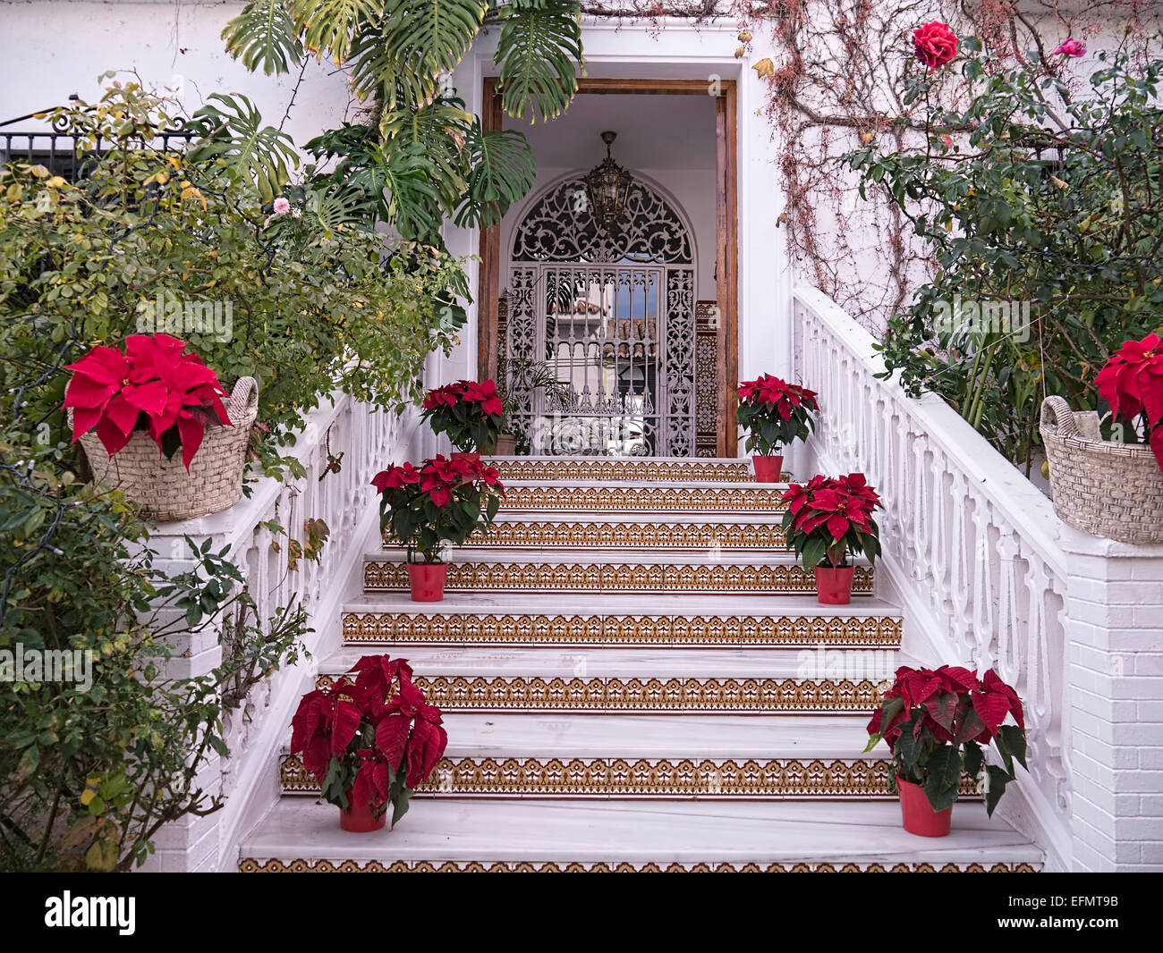 christmas decorations at nerja in southern spain stock image