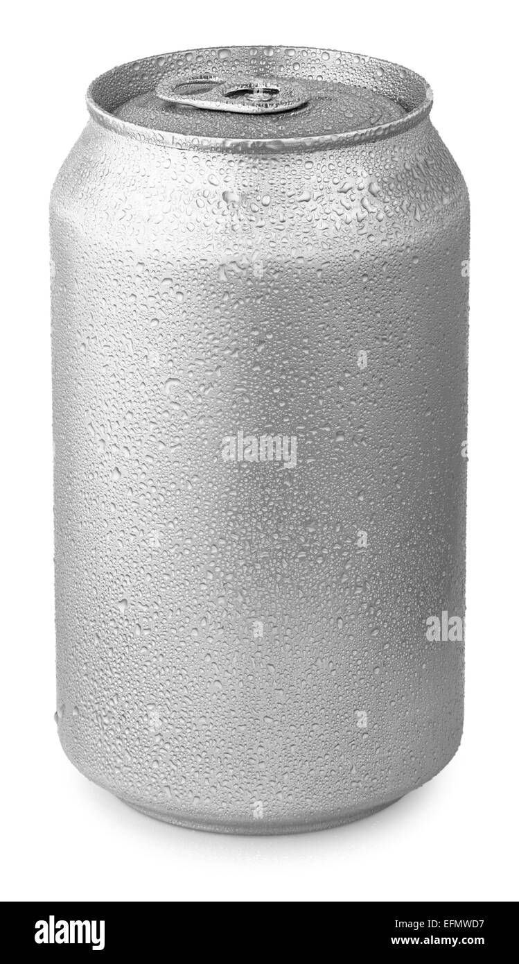 aluminum can with water drops isolated on white - Stock Image