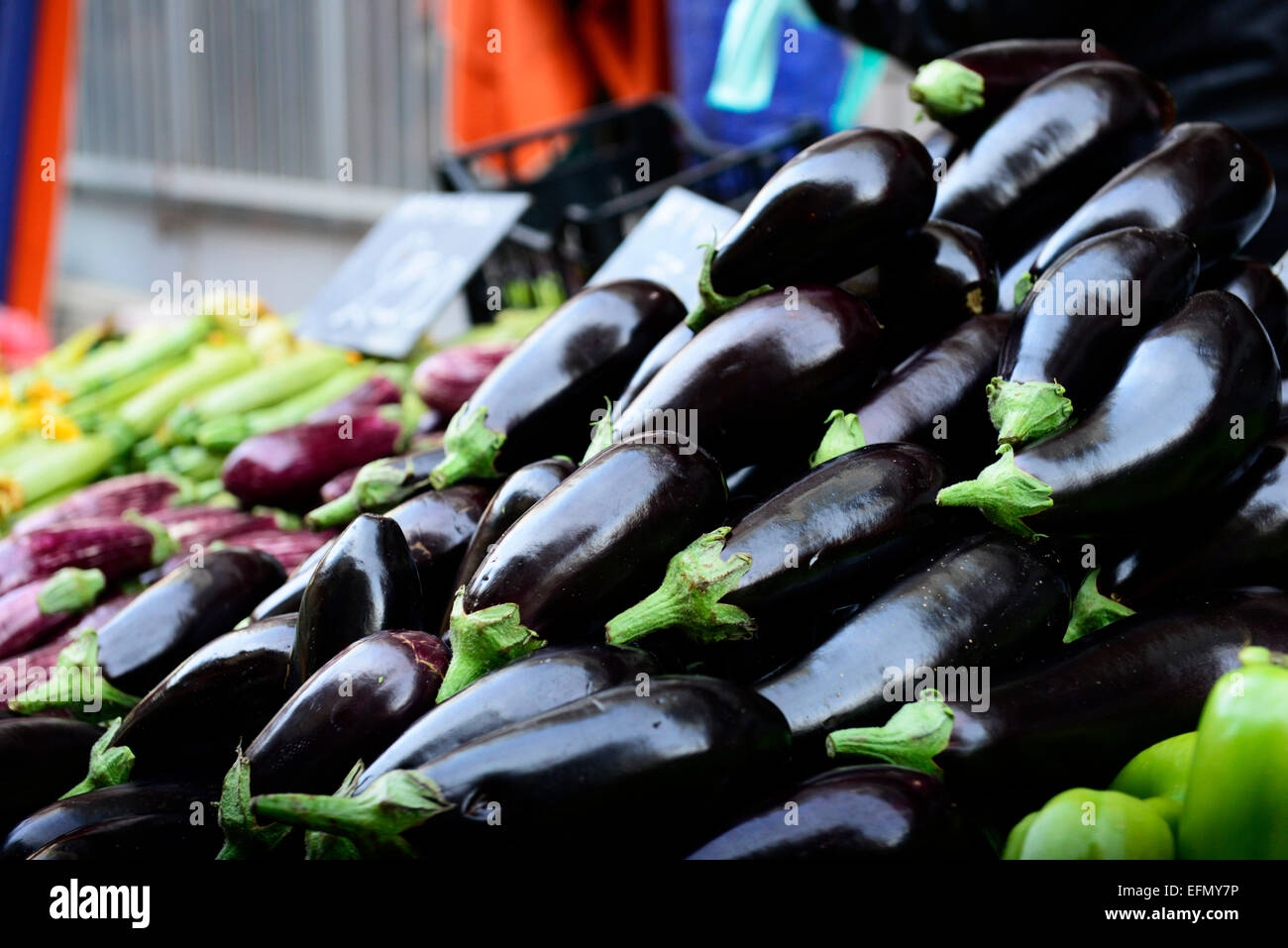 Fresh Eggplants from Crete sold in the vibrant markets of Athens. - Stock Image