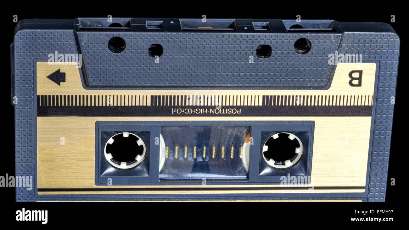 Black plastic cassette tape - Stock Image