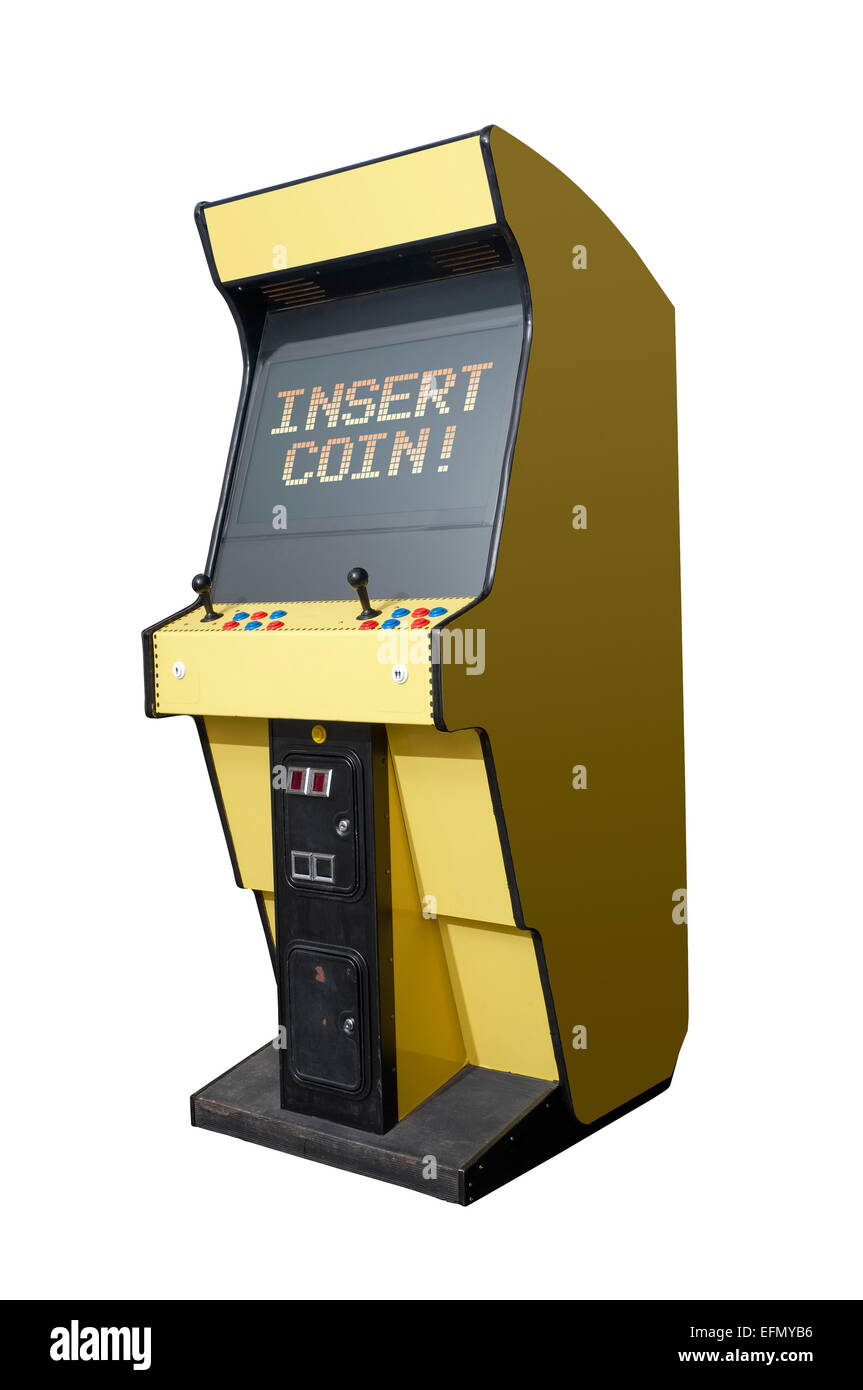Insert Coin message on a retro arcade isolated on white - Stock Image