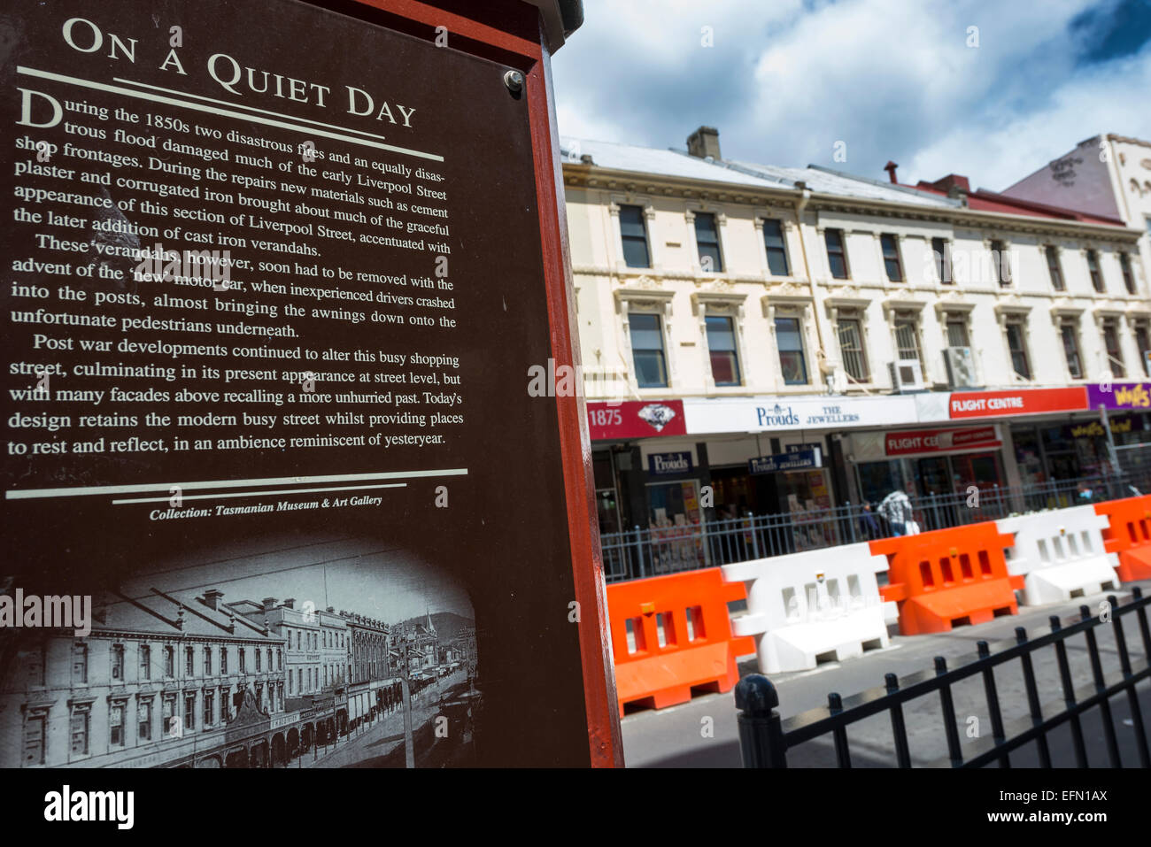 A sign explaining about the fire that occurred in Liverpool st. in Hobart. Stock Photo