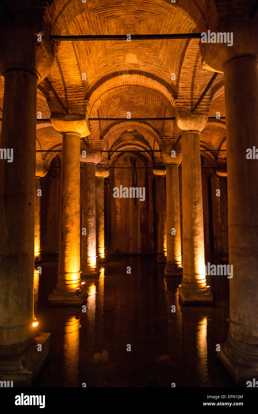 The Basilican Cistern is located in the historical peninsular of Istanbul in the Sultanahment district. It was built Stock Photo