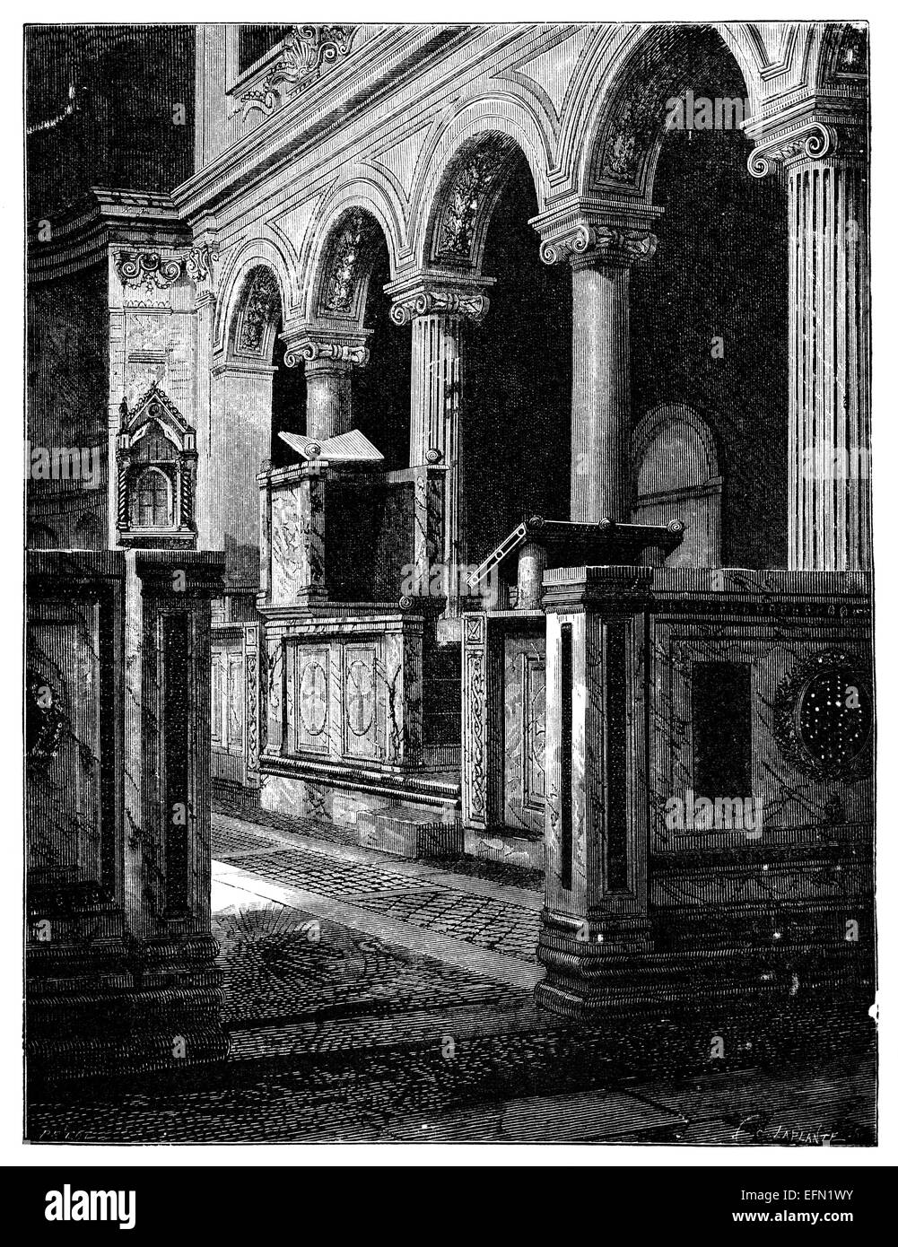 19th century engraving of the Basilica San Clemente, Rome, Italy Stock Photo