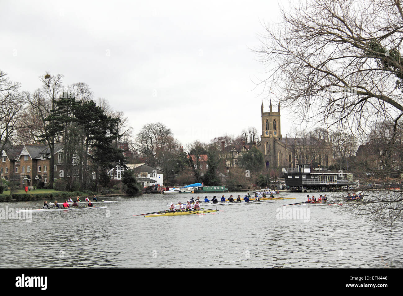Kingston Rowing Club (nearest) J18A.4x-. Hampton Head (Junior 4s and 8s) rowing event.  River Thames, Hurst Park, - Stock Image