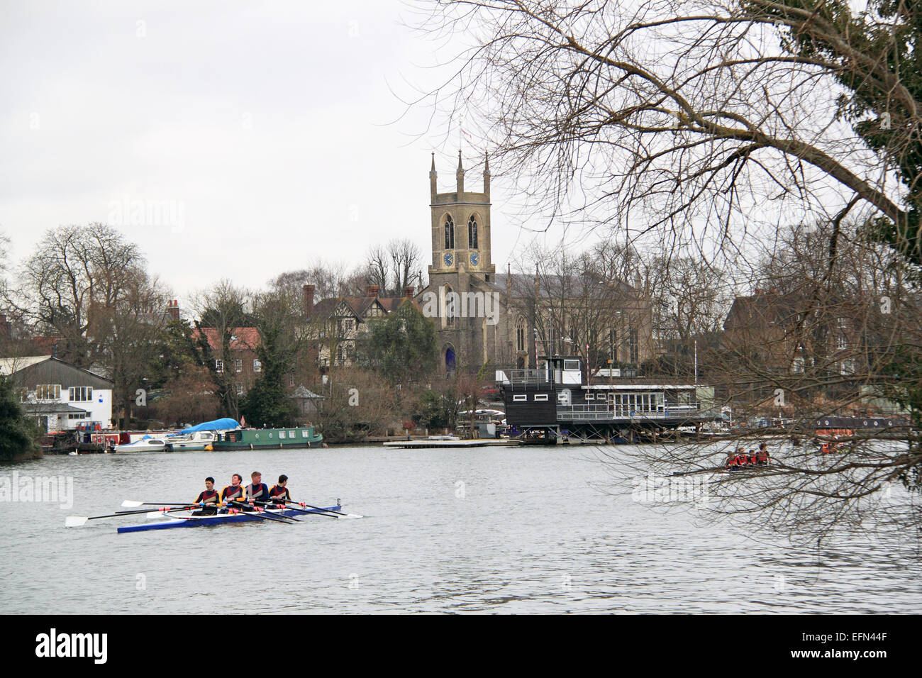 Norwich School J18A.4x-. Hampton Head (Junior 4s and 8s) rowing event.  River Thames, Hurst Park, East Molesey, - Stock Image