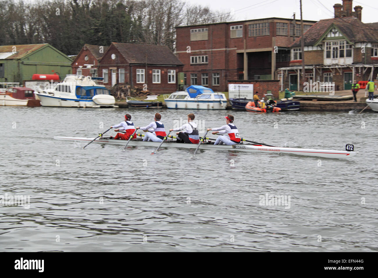 City of Oxford J16A.4x-. Hampton Head (Junior 4s and 8s) rowing event.  River Thames, Hurst Park, East Molesey, - Stock Image