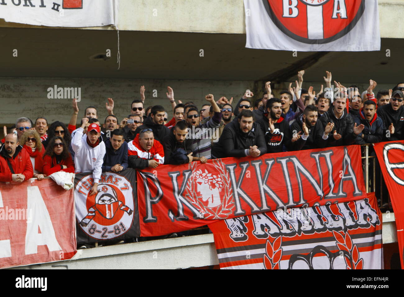 Piraeus Greece 7th Feb 2015 Hundreds Of Fans And Ultras Of Olympiacos Have Come To The Memorial Service Hundreds Of Fans And Official Came To The Karaiskakis Stadium To Remember The Victims