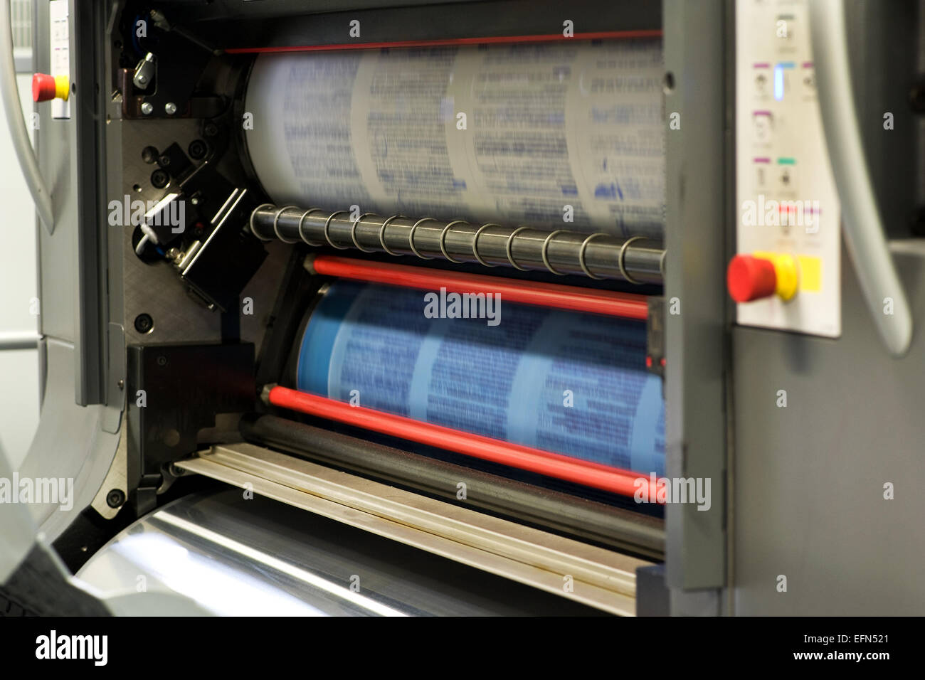 Printing Plenty of Documents or Papers Using Rotary Printing Press Machine. - Stock Image
