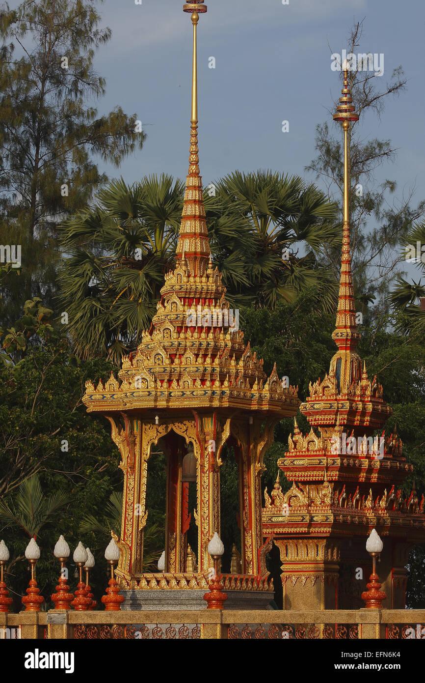 Ornate building, Wat Chalong temple, Phuket, Thailand - Stock Image