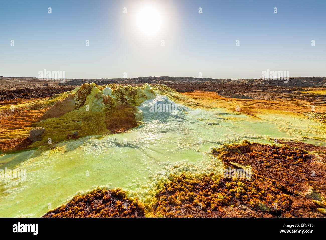 Sulfuric acid pools in Dallol in Ethiopia - Stock Image