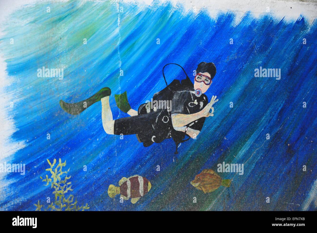 Wall Painting, Diver, Sabang, Puerto Galera, Mindoro, Philippines. - Stock Image