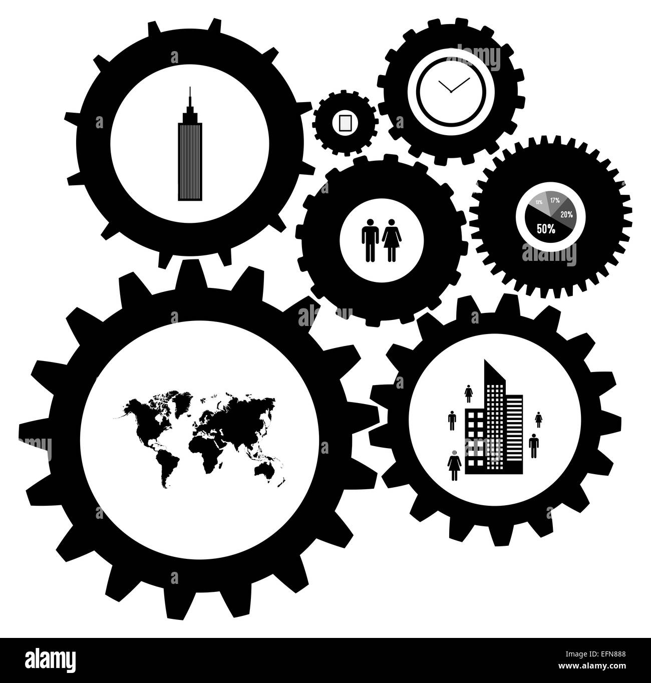 infographic design template with gears and cogs stock photo