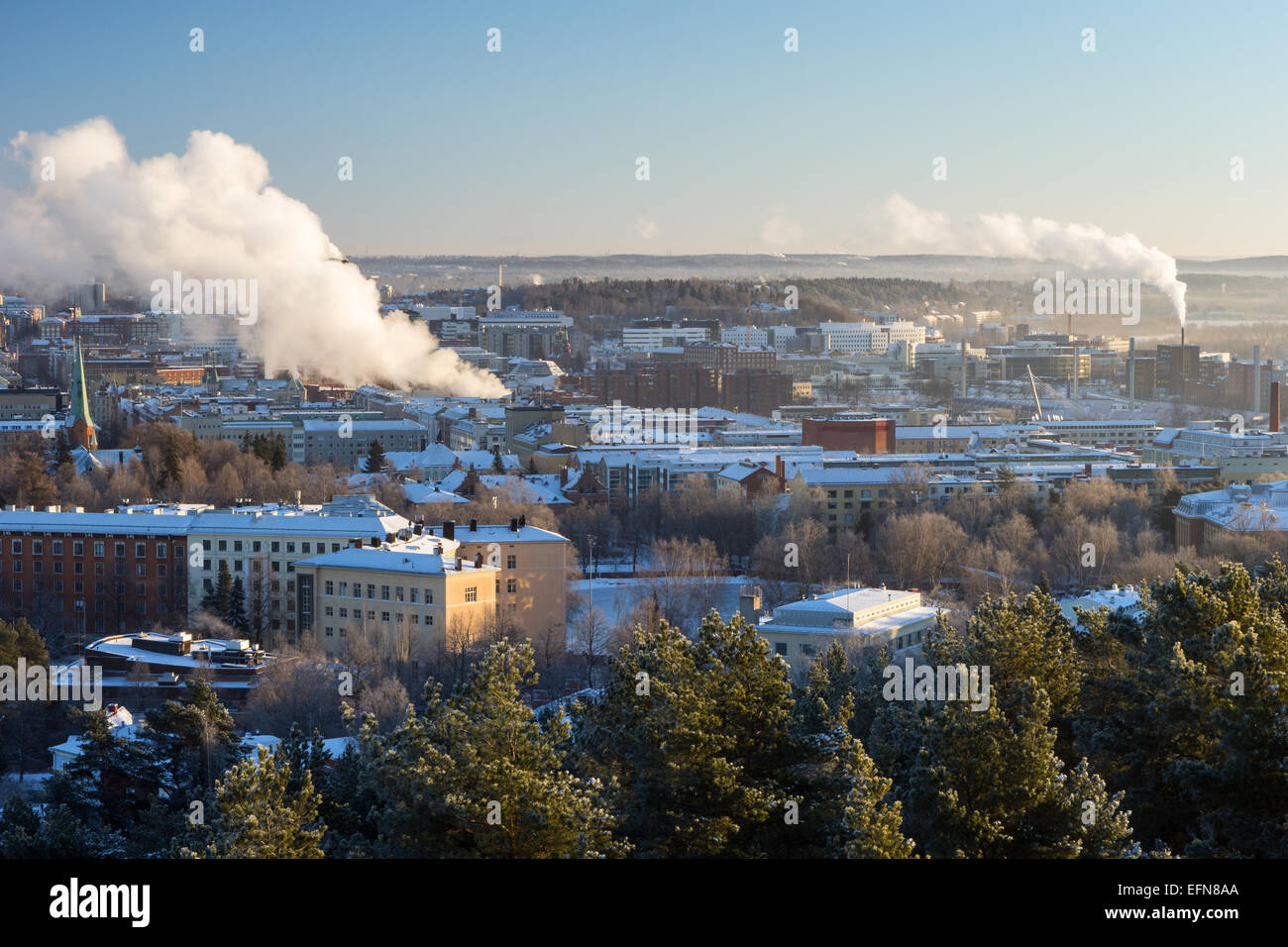 View over the city of Tampere, Finland in the winter in daylight Stock Photo