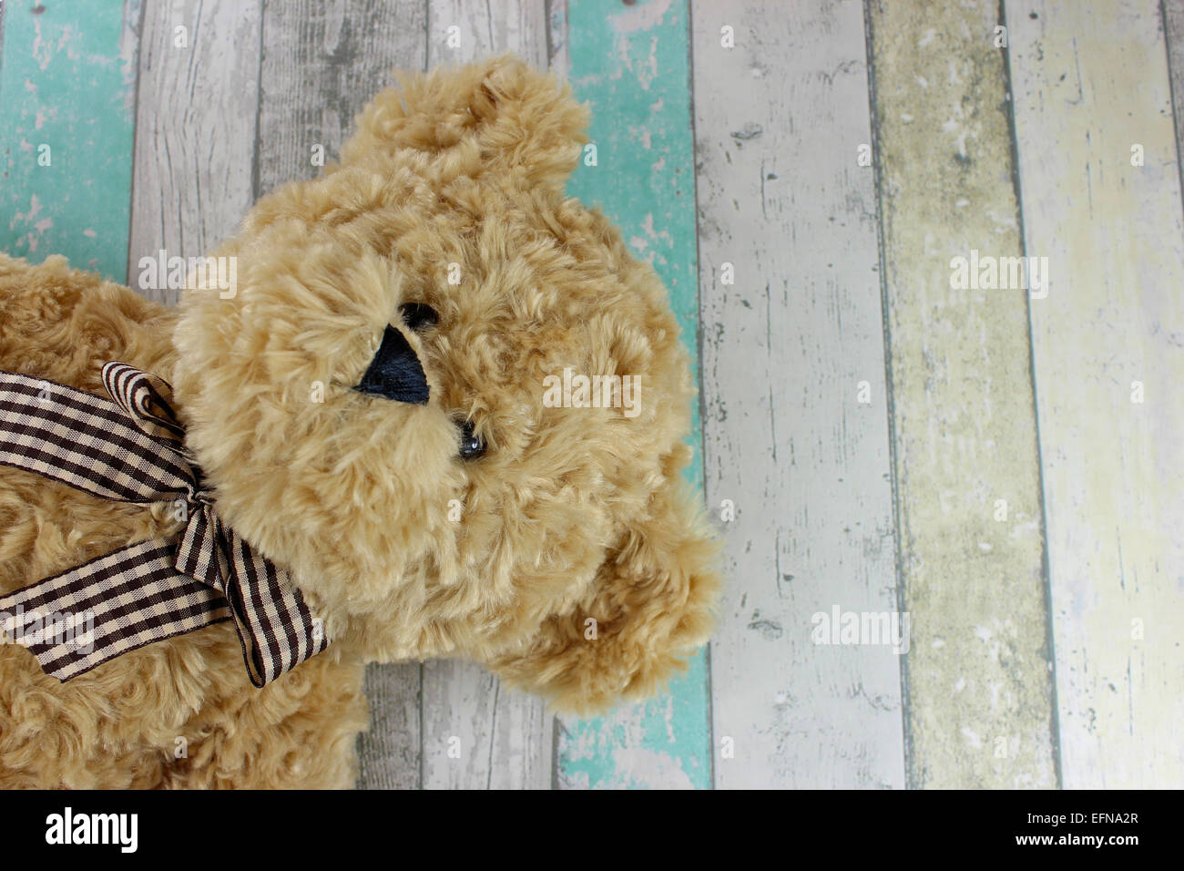 Cute Teddy bear on a distressed wood background. - Stock Image