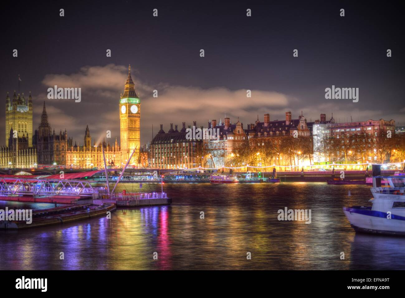 High Dynamic Range of London's Embankmen, Big Ben and Houses of Parliament. - Stock Image