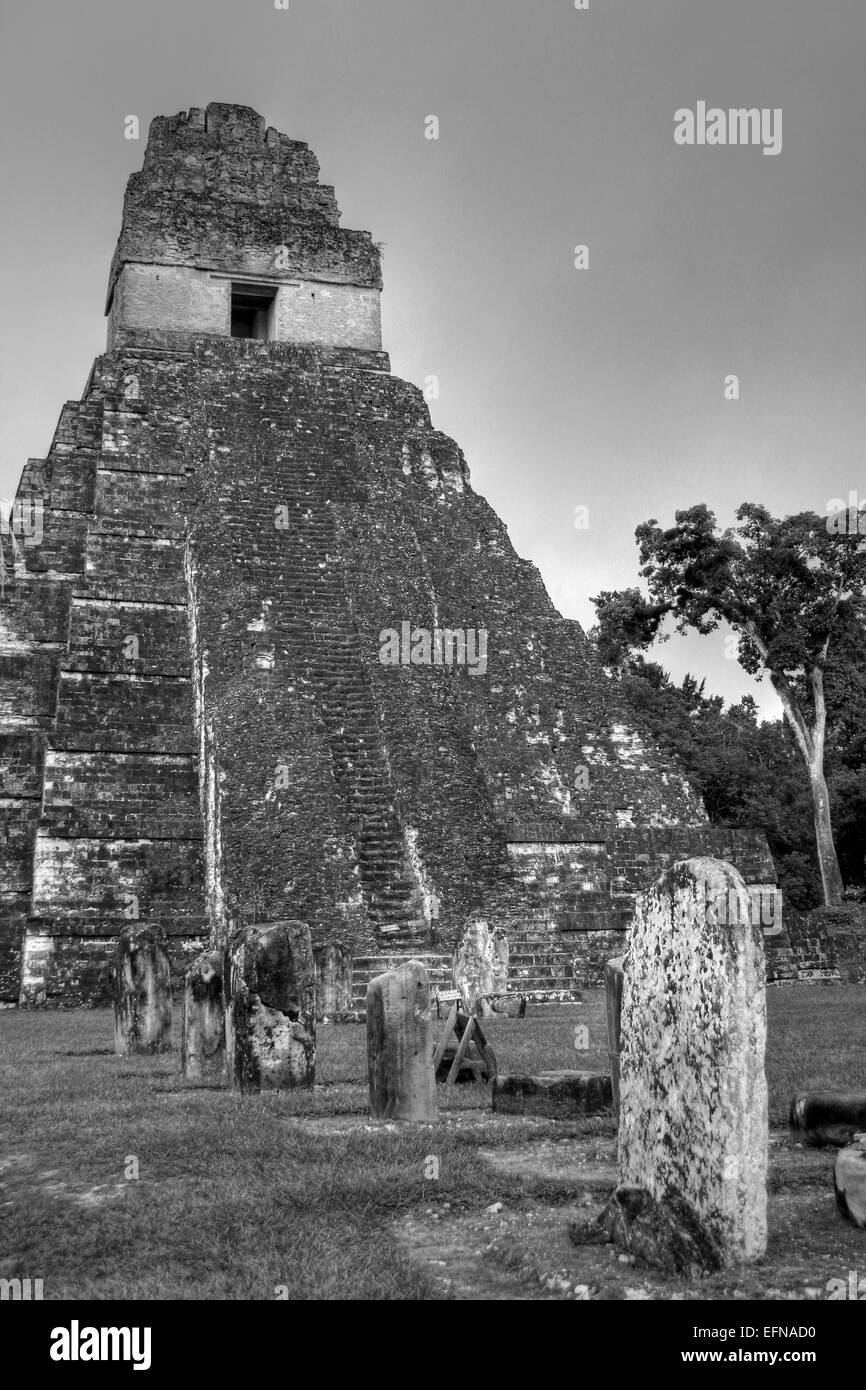 HDR Photograph Of Temple 1 In Tikal's Central Plaza Stock Photo