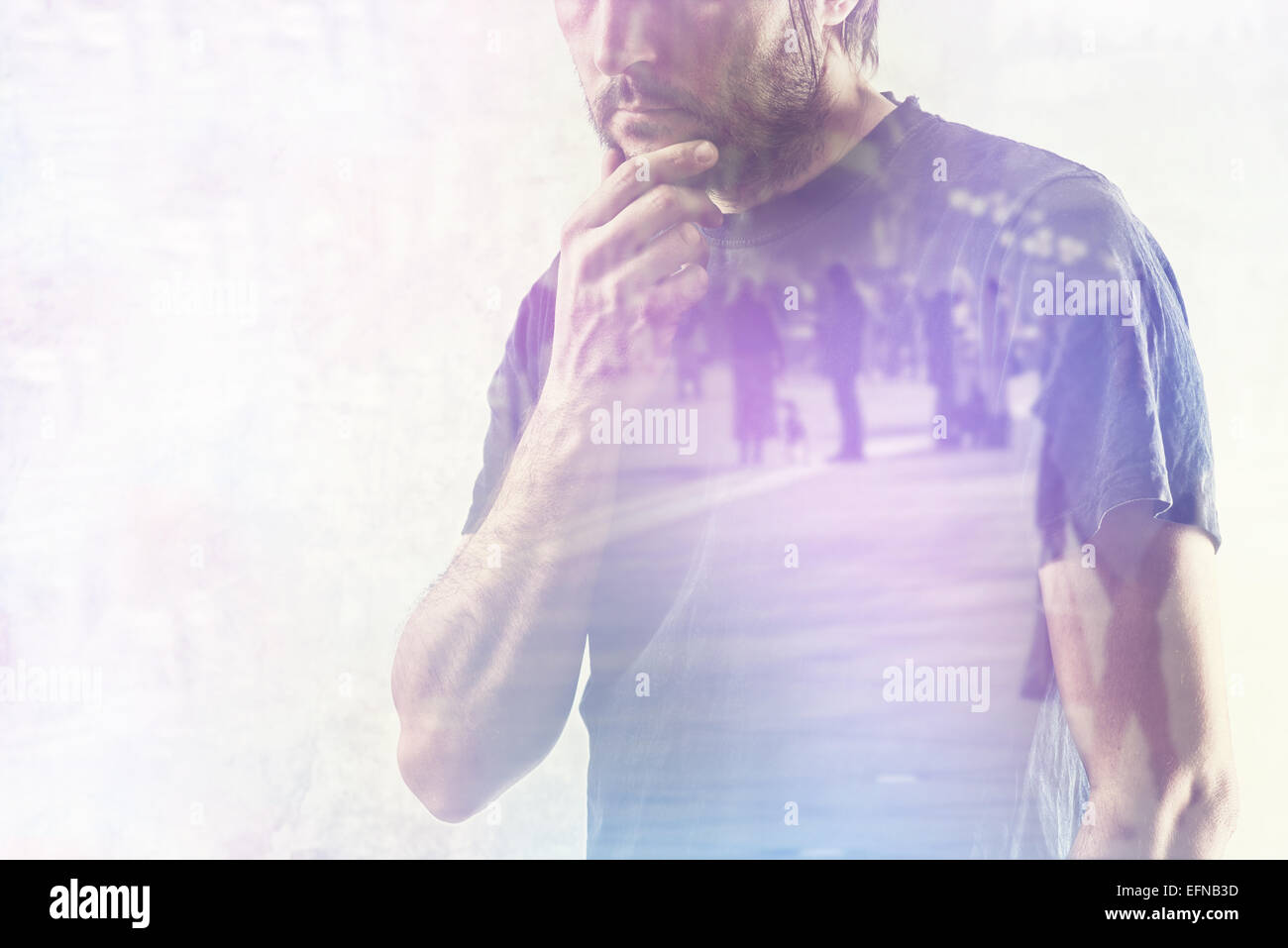 Conceptual Composite Image of Adult Man Remembering Something from his Past, Hand on Chin. - Stock Image