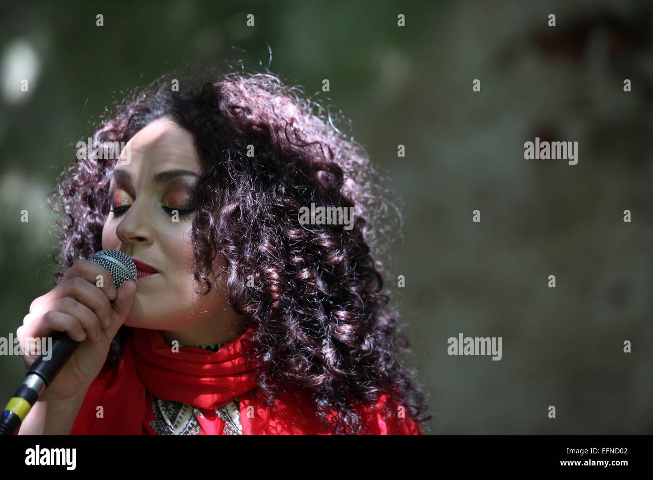 Close-up of female singer - Stock Image