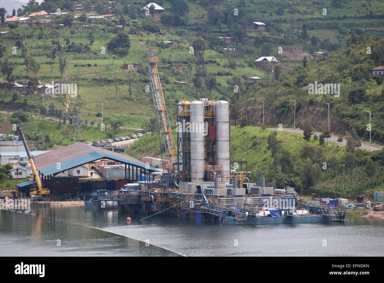 Kivuwatt biogas plant under construction on the edge of Lake Kivu, Rwanda - Stock Image